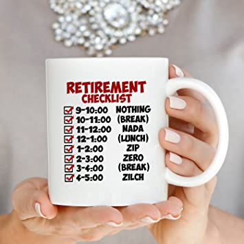 Amazon funny retirement gift checklist coffee mug perfect amazon funny retirement gift checklist coffee mug perfect humor present ideas for coworker party invitations printed on both sides kitchen dining stopboris Gallery