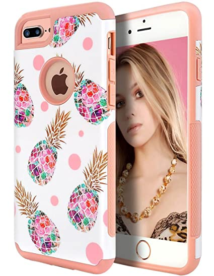 online retailer eea6f 4cc4c iPhone 7 Plus Case, iPhone 6 Plus Case, WORLDMOM Cute Pineapple Design  Double Layer Hybrid Bumper Girls Sturdy Back Soft Silicone Protective Phone  ...
