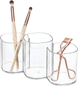 iDesign Clarity Plastic Trio Cup Organizer for Storage of Cosmetics, Makeup Brushes, and Accessories on Vanity, Dresser, Desk, Bathroom Countertop, 3 Compartments