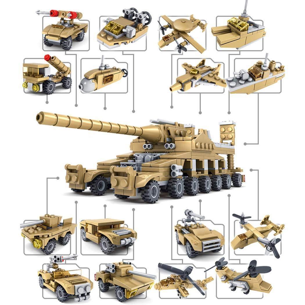 hiriyt New Kids Children Puzzle Assembled Building Blocks Cannon Tank 16 in 1 Toy Set Stacking Blocks