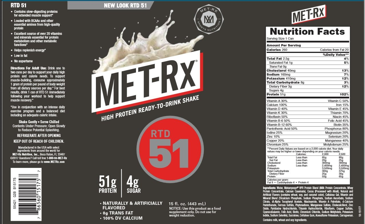 MET-Rx RTD 51 Protein Shake, Ready to Drink and Convenient for Meal Replacement, Low Carb, Cookies and Creme, 15 oz, 12 Count by MET-Rx (Image #2)