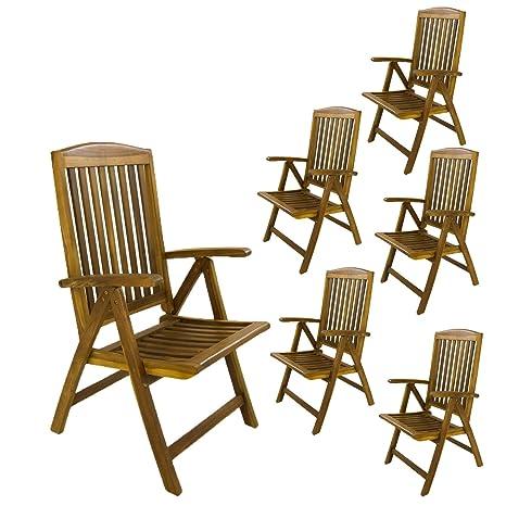 Edenjardi Pack 6 sillones para terraza Plegables y reclinables, Madera Teca Grado A, Tamaño: 62x70x107 cm, Tratamiento al Agua aplicado