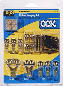 OOK 50918 Valu-Pak Assorted Professional Kit hangs up to 17 pictures, 5-100 lbs, 1 pack