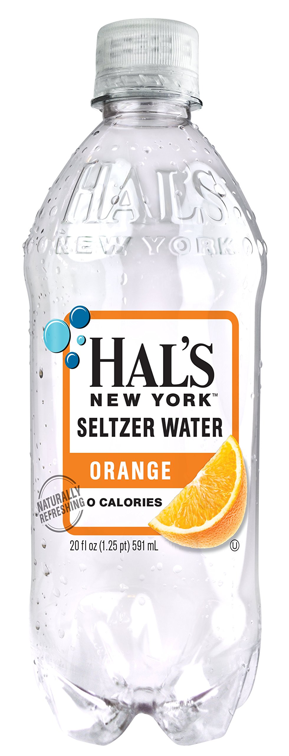 Hal's NY Seltzer Water 20 Oz Bottles (Pack of 24) (Orange) by Hal's New York