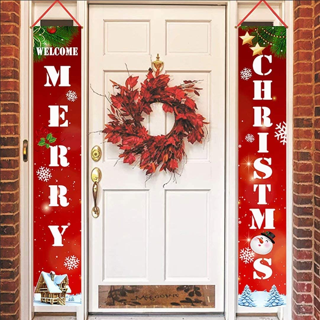 Henriyne Funny Merry Christmas Decorations Welcome Sign 2Pcs Hanging Vertical Porch Banners for Door Decor Home Yard Holiday Farmhouse 70.8x12 Inch(Red-1)