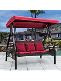 Sundale Outdoor Deluxe Wicker Porch Swing Canopy Sling Chair 3 Seats With  Steel Frame Patio Backyard