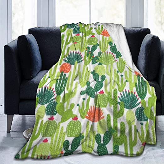 50 x 40 NOT Cactus Succulents Flannel Blanket Super Soft and Comfortable Fuzzy Luxury Warm Plush Microfiber Blanket Suitable for Bed Sofa Travel Four Seasons Blanket