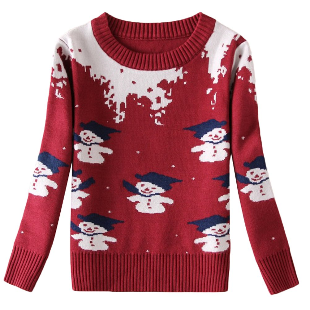 Mallimoda Boys Long Sleeve Pullover Crewneck Fawn and Flower Print Sweater