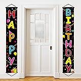 Colorful Happy Birthday Porch Sign Birthday Banner Happy Birthday Door Banner Yard Sign Celebration Flag Party Decorations Ki