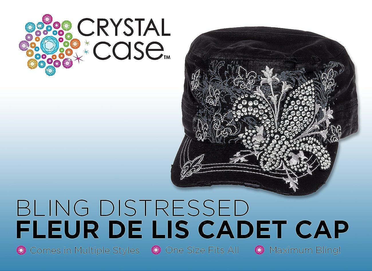 new concept 05956 e924c Crystal Case Womens Cotton Rhinestone Fleur de Lis Cadet Cap Hat (Denim  Blue) at Amazon Women s Clothing store