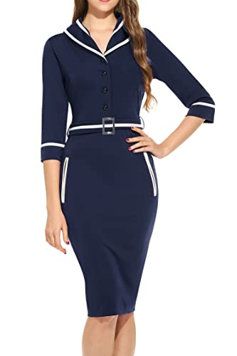 HOTOUCH Women V-Neck 3/4 Sleeve Belted Bodycon Business Party Pencil Dress