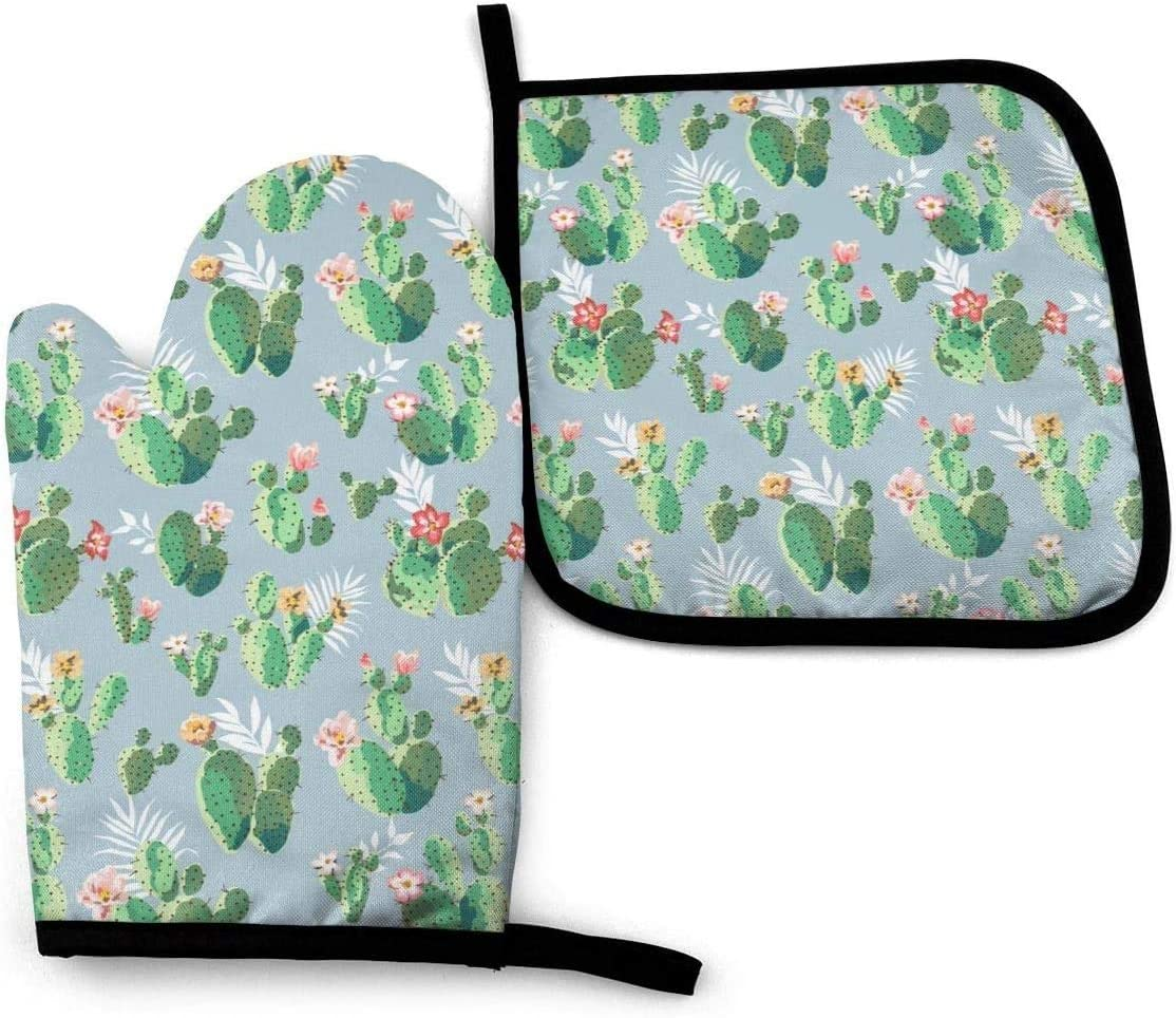 Pear Cactus Oven Mitts and Pot Holders Silicone Heat Resistant Sets Cooking Gloves Potholders Disposable Food Safe Non-Slip Hot Pads for Kitchen