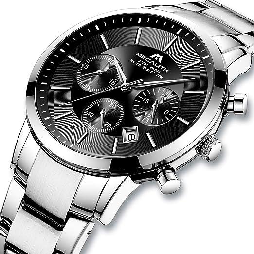 Relojes Hombre Reloj de Pulsera Militar Impermeable Cronógrafo Deportivo de Plata Acero Inoxidable Reloj de Hombres Lujo Negocios Calendario: Amazon.es: ...