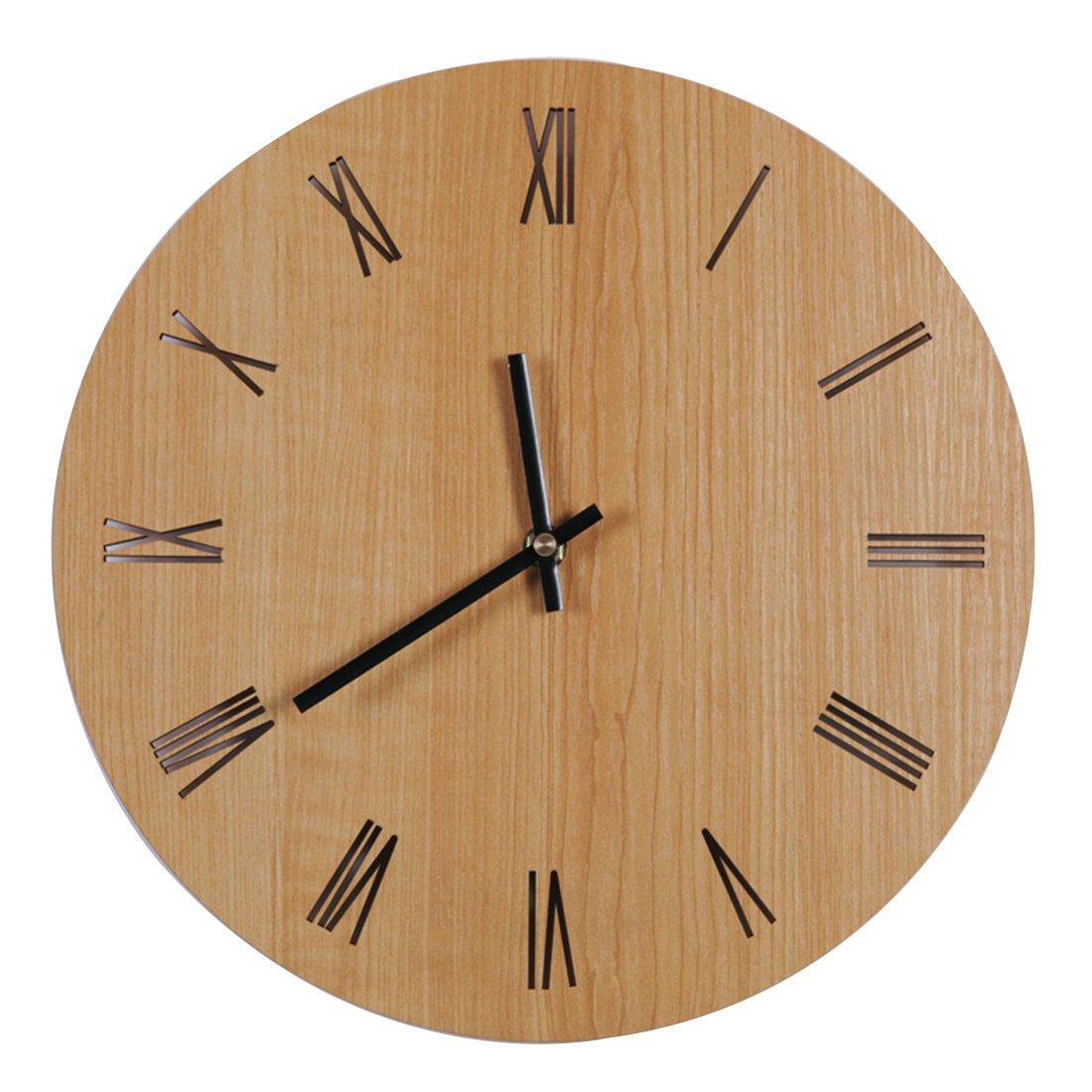 Mecotech 30cm Horloge Pendule Murale en Bois MDF Silencieuse, Style Simple Chiffres Romains Ciselés Le Décor de Salon Chambre Cuisine