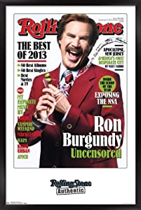 "Trends International Rolling Stone Magazine - Ron Burgundy 13 Wall Poster, 22.375"" x 34"", Black Framed Version"