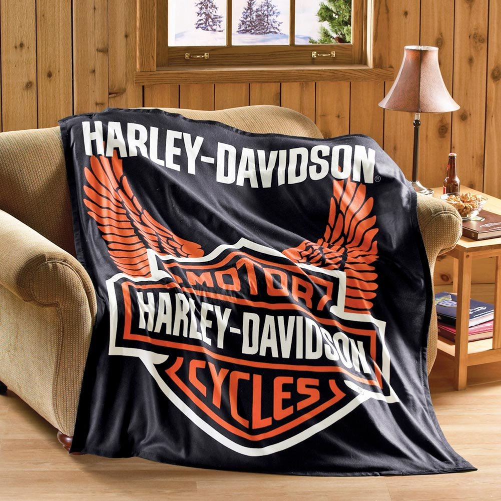Collections Etc Harley Davidson Motorcycle Fleece Throw Blanket Standard