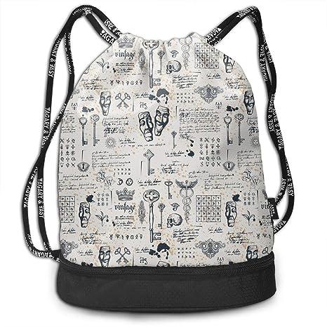 3cfe6a38031f Trableade Vintage Keys and Lettering Multifunctional Bundle Drawstring  Backpack Portable Shoulder Bags Travel Sport Gym Bag