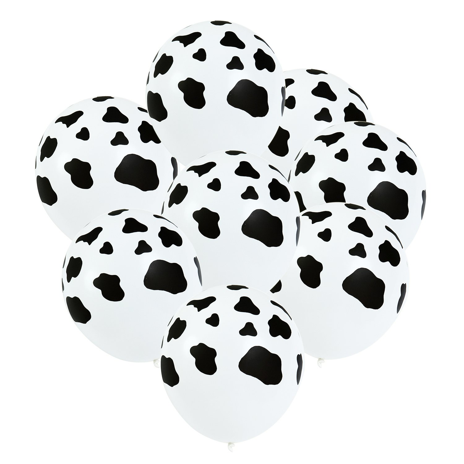 Resinta 80 Pieces 12 Inches Cow Print Balloons Latex Farm Animal Black and White for Children's Birthday Home Craft Decoration