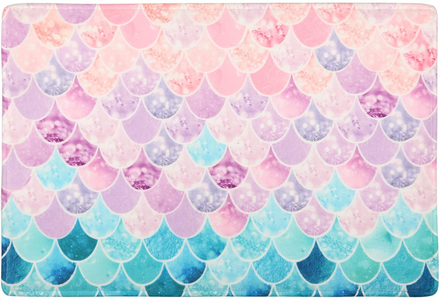 Bathroom Rug, Bath Mat 16 x 24 Inches, Comfortable,Soft, Absorbent, Machine Wash, Non-Slip,Easy to Dry for Bathroom Floor Rug, Pink Purple Blue Mermaid Scales