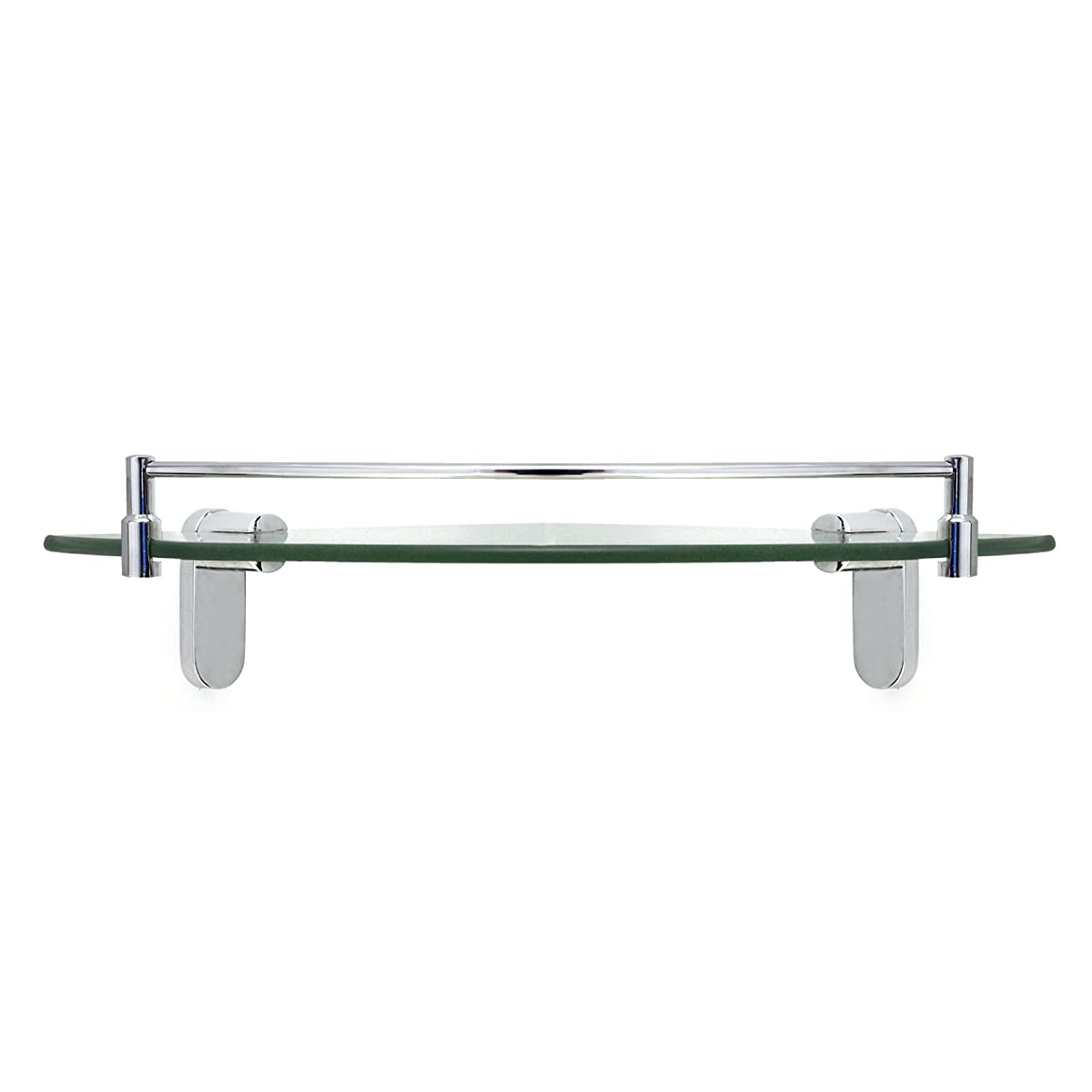 MODONA Corner Glass Shelf with Rail – Polished Chrome – Oval Series - 5 Year Warrantee