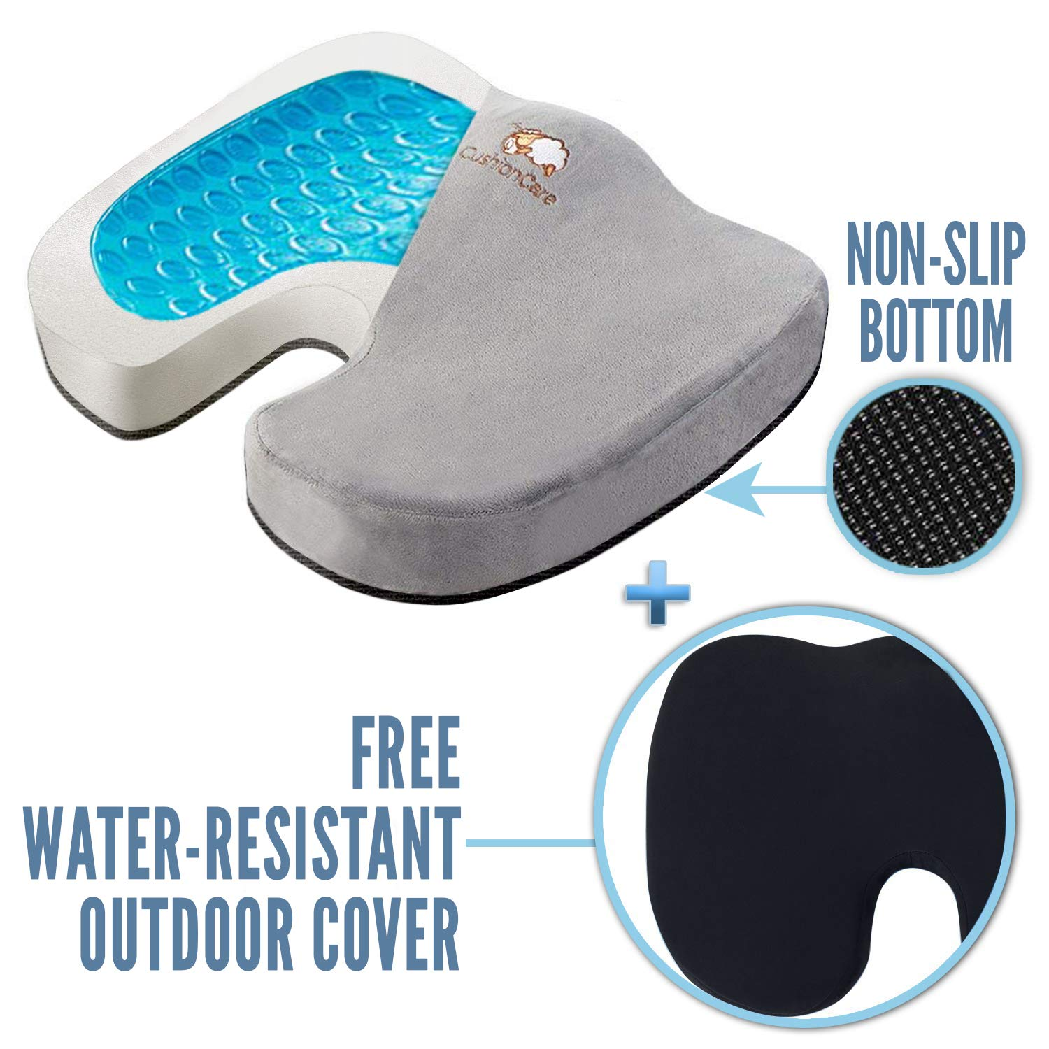 Memory Foam Seat Cushion - Cooling Gel + Outdoor Water-Resistant Cover - Orthopedic Pain Relief for Tailbone, Sciatica, Coccyx - Non-Slip Back, Hip Support for Office Chair, Car, Truck, Wheelchair