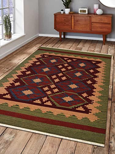 Rugsotic Carpets Hand Woven Flat Weave Kilim Wool 10'x14' Area Rug Contemporary Burgundy Olive D00121