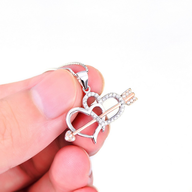 CS-DB Pendants Cupid Arrow Through Heart Silver Necklaces