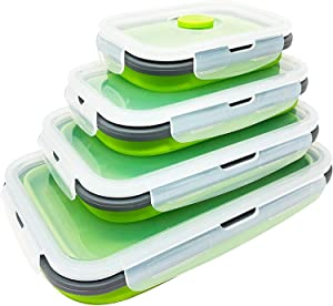 Yikko Silicone Lunch Box, Collapsible Folding Food Storage Container with Lids, Kitchen Microwave Freezer and Dishwasher Safe Kids (Green)
