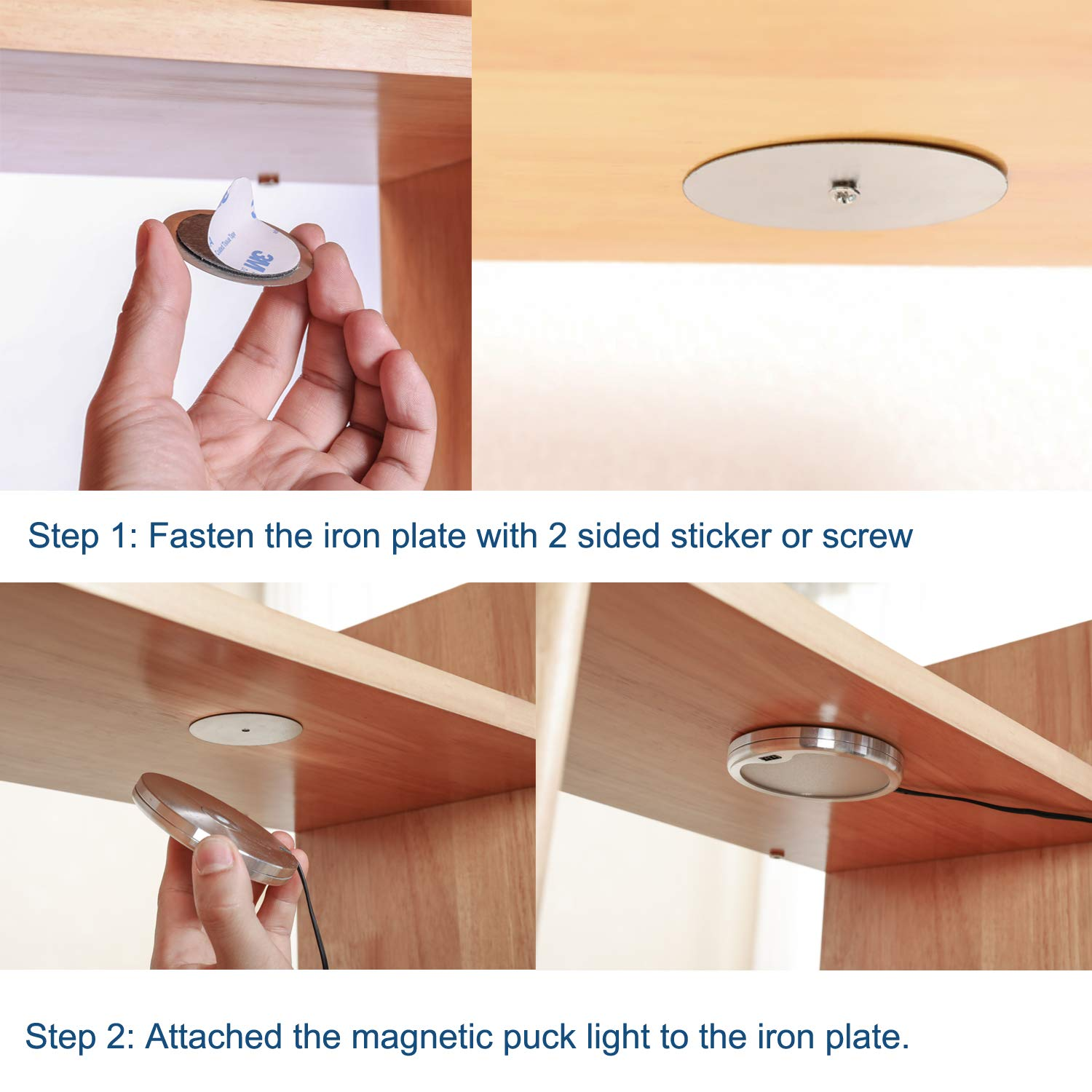 Hand Wave Activated Lighting kit Touchless Dimmable Control with Magnetic Puck Lights for Bookcase Under Counter Shelves AIBOO Dimmable Under Cabinet Lighting 4000K Natural White, 6 Pack