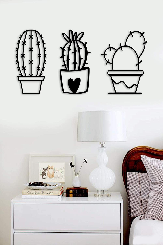 Cactus Wood Style Wall Decor 3 pcs