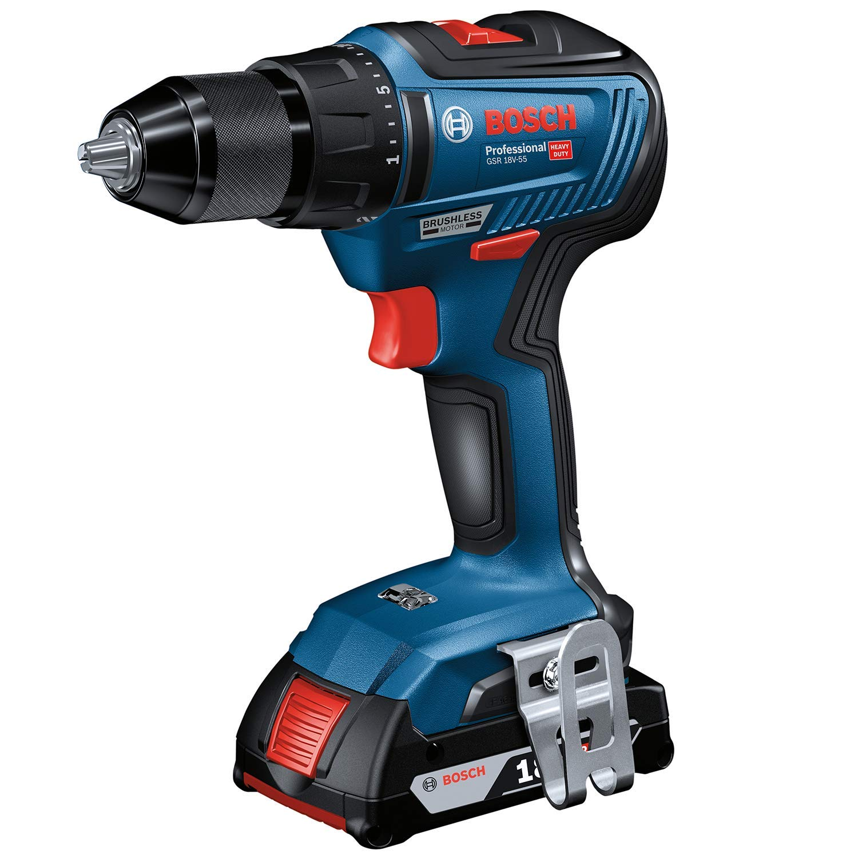 Bosch Professional 06019H5202 GSR 18V-55-Atornillador 18 V 18V, 55 NM, sin bater/ía, en Caja Azul