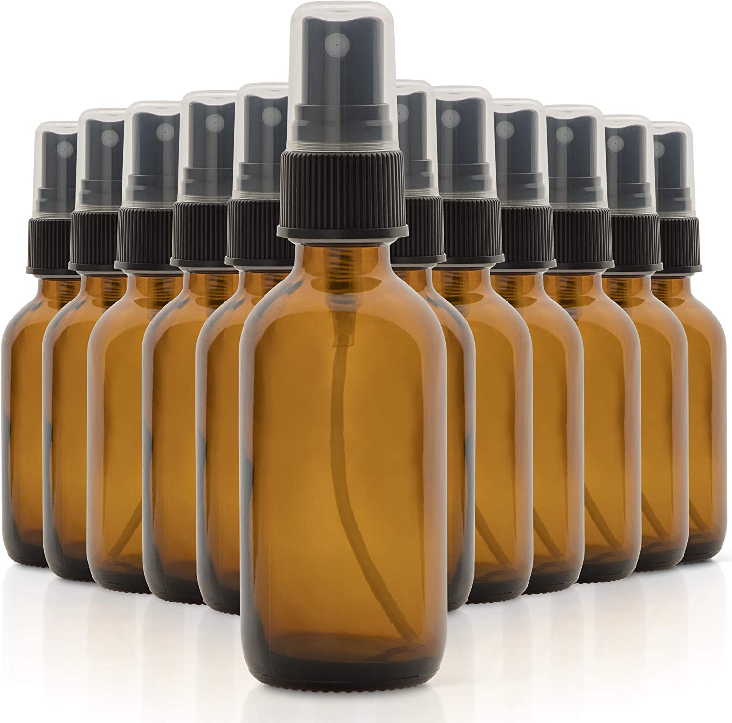 1790 Amber Glass Essential Oil Bottles, 2 oz Small Glass Bottles, Glass Bottles for Essential Oils- BPA Free - Toxin Free - Mini Spray Bottle(12 Pack)
