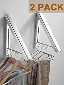 MISSMIN 2 Pack Retractable Clothes Rack - Wall Mounted Folding Clothes Hanger Drying Rack for Laundry Room Closet Storage Organization, (Silver)