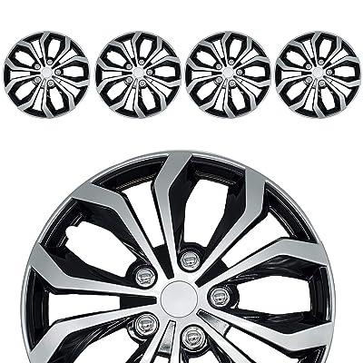 "Roane Concepts Venom Edition 15"" Easy Snap on Universal Hub Caps - Easy Install Hub Caps - Black Silver - Set of 4: Automotive"
