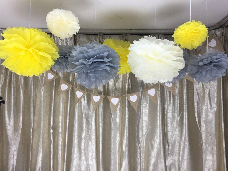 12PCS Ivory Grey Yellow Tissue Paper Flower Pom Poms Pompoms Wedding Birthday Anniversary Party Christmas Girls Room Decoration