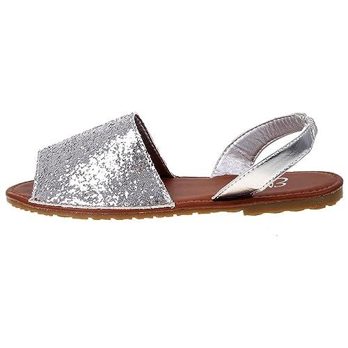 a7806e5162c0 Ladies Ella Glitter Slingback Flat Menorcan Open Toe Spanish Sandals   Amazon.co.uk  Shoes   Bags