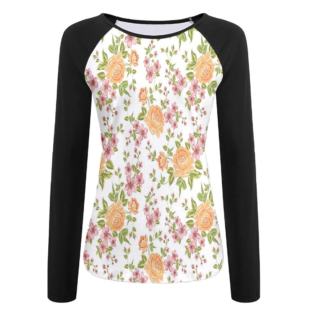 Weiding Luxurious Color Peony Pattern Poppy Dahlia Love Wedding Celebrations Women's Stretchy Long Sleeve Raglan Tshirt S