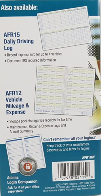 adams detailed daily driving log 400 entries 9 x 3 25 inches