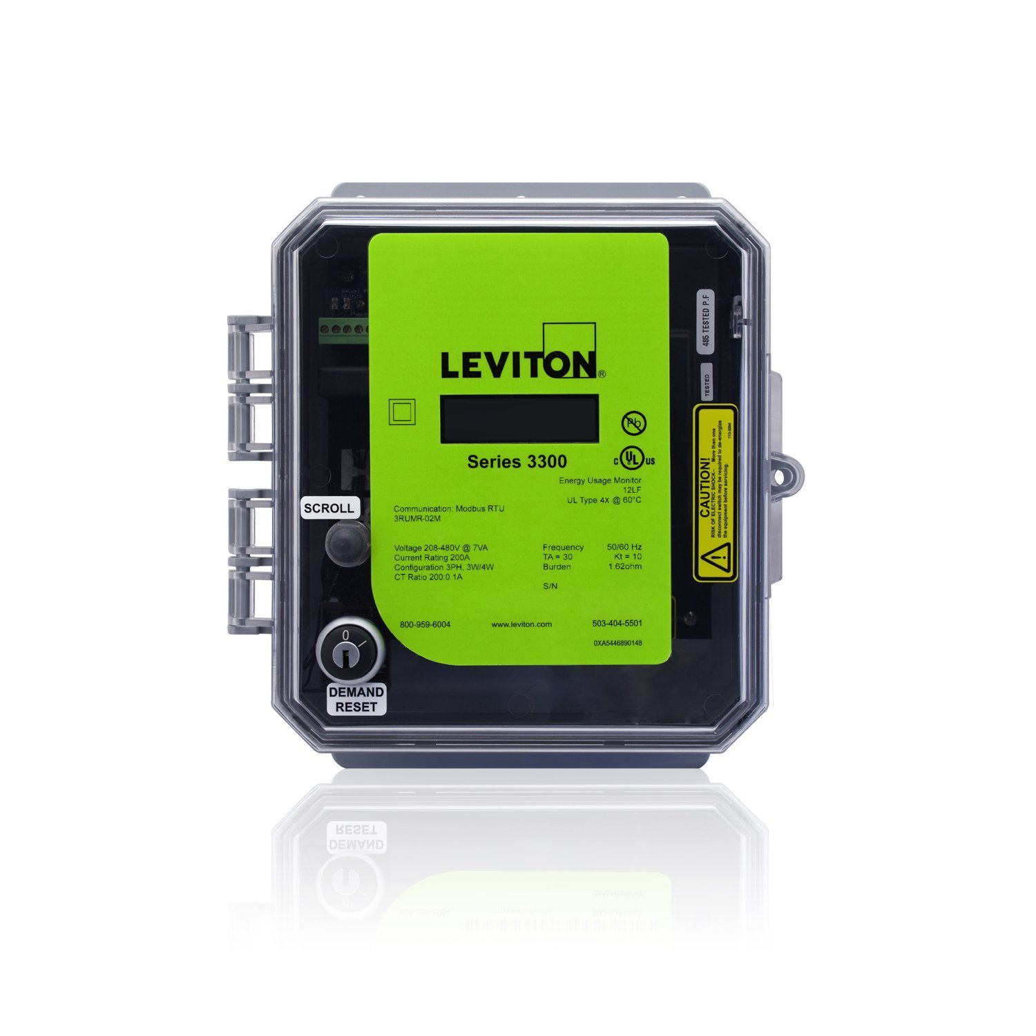 Leviton 3OUBM-50M VerifEye Series 3300 BACnet MS//TP Outdoor Meter Kit with 3 Split Core CTs 5000-Amp