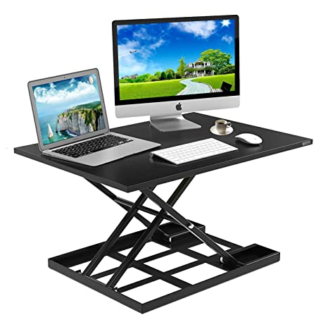 Excellent Standing Desk Stand Up Desks Height Adjustable Sit Stand Converter Laptop Stands Large Wide Rising Black Dual Monitor Pc Desktop Computer Riser Table Download Free Architecture Designs Scobabritishbridgeorg