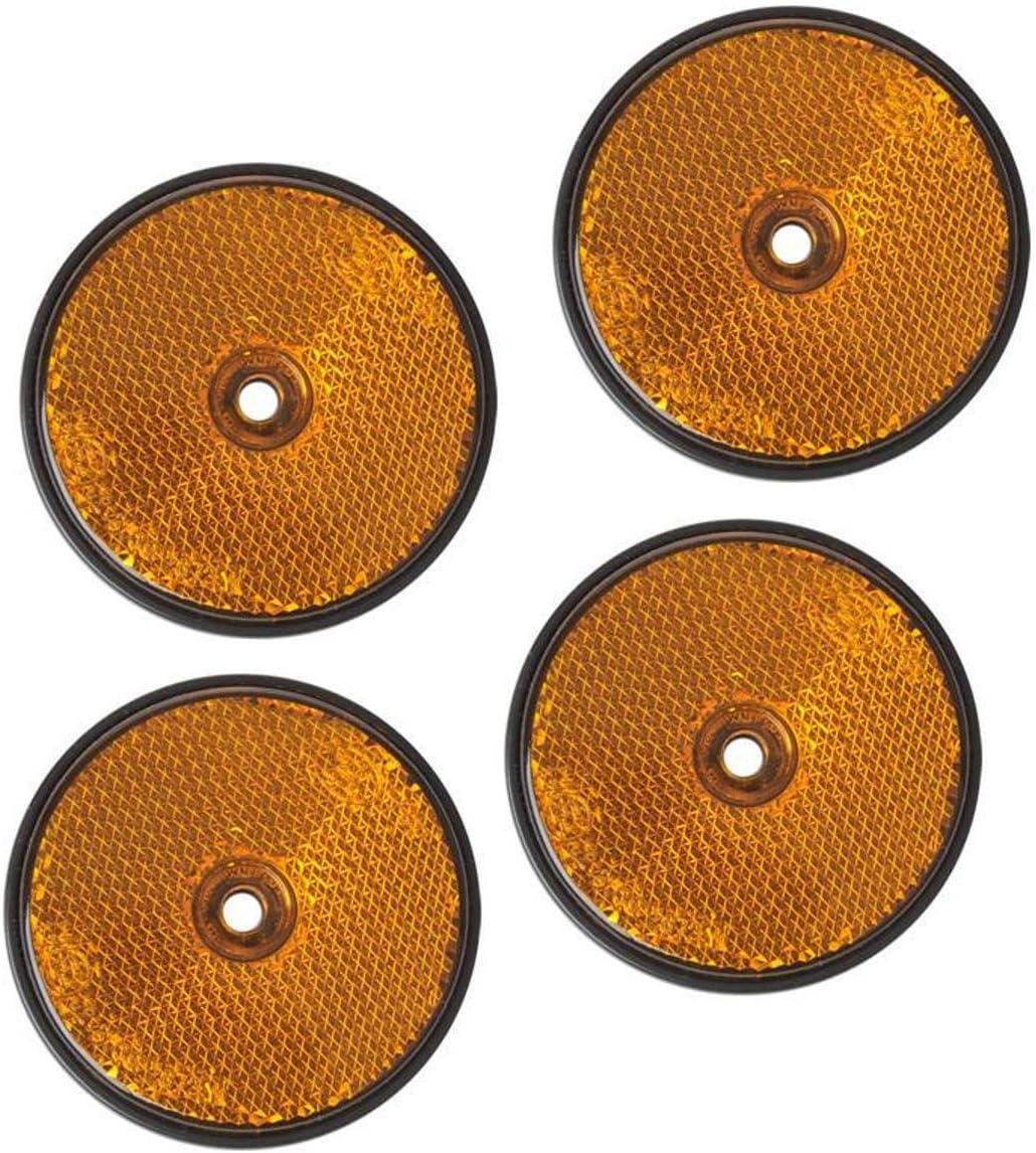 4 Stück Rückstrahler Orange Rund Anhänger Katzenauge Reflektor Lkw Wohnwagen Pkw Auto