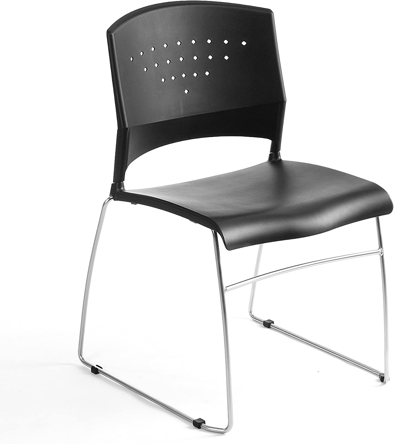 B001EE75VI Boss Office Products Chrome Frame Stack Chair 2 Pack in Black 71g2B-MRlG6L