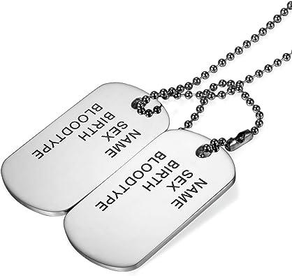 Cupimatch Chapas Militares Personalizadas de Acero Inoxidable Estilo Ejército Americano Dog Tag Joyería de Moda Hipoalergénico Original Regalo San Valentín/Navidad: Amazon.es: Joyería