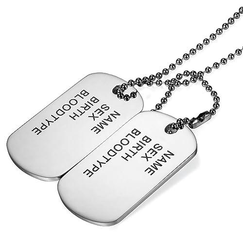 Chapa Militar Collar Dog Tag Acero Inoxidable Collar Hombre ...