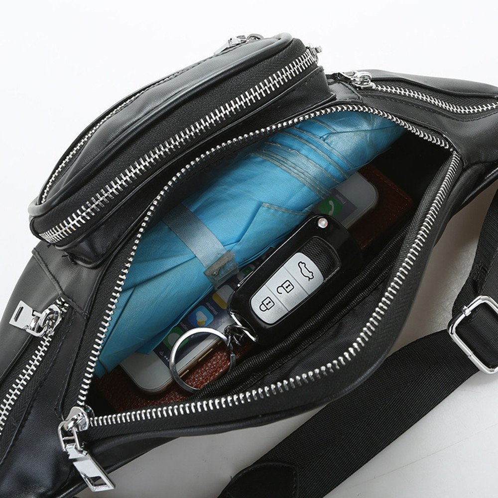Unisex Leather Crossbody Bag Outdoor Sports Travel Waist Pack High-Capacity Shoulder Chest Bag Casual Belt Bags Waist Bag
