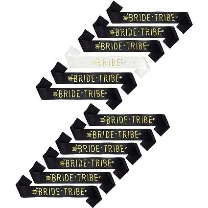 Bride Tribe sash black and gold X10 team hen bachelorette party