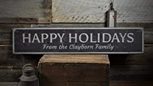 Tamengi Holidays Wood Sign, Custom Happy Holiday Greetins from Family Last Name Christmas Home Decor - Rustic Hand Made Vintage Wooden Sign Home Decor Gifts,Produced in The U.S.