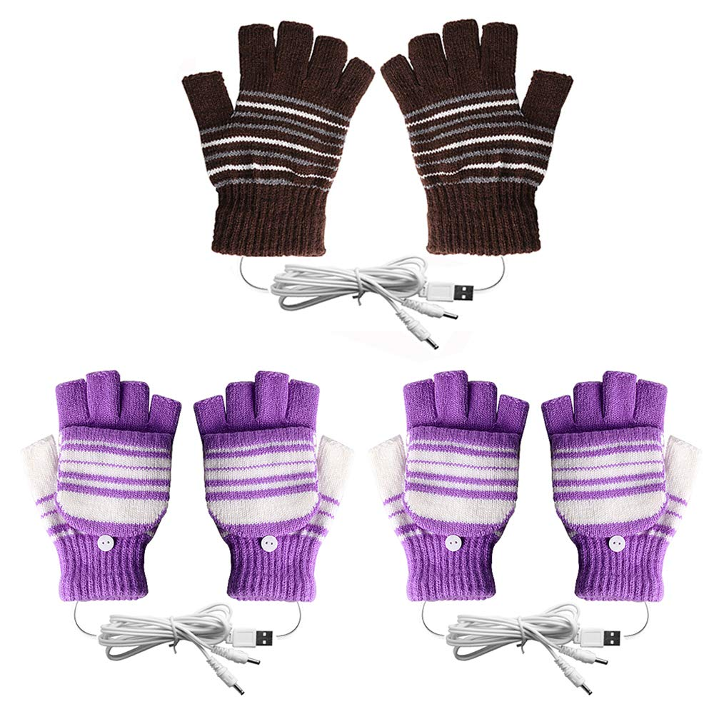 [3 Pack] USB Heated Gloves for Men and Women Mitten, AIKIN USB 2.0 Powered Stripes Heating Pattern Knitting Wool Heated Gloves Hands Warmer Laptop Gloves Fingerless Washable (2Purple+1Brown) by AIKIN