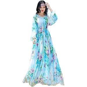Dresses Summer Beach Floral Chiffon Lightweight Sundress Holiday Honeymoon Maxi Dress