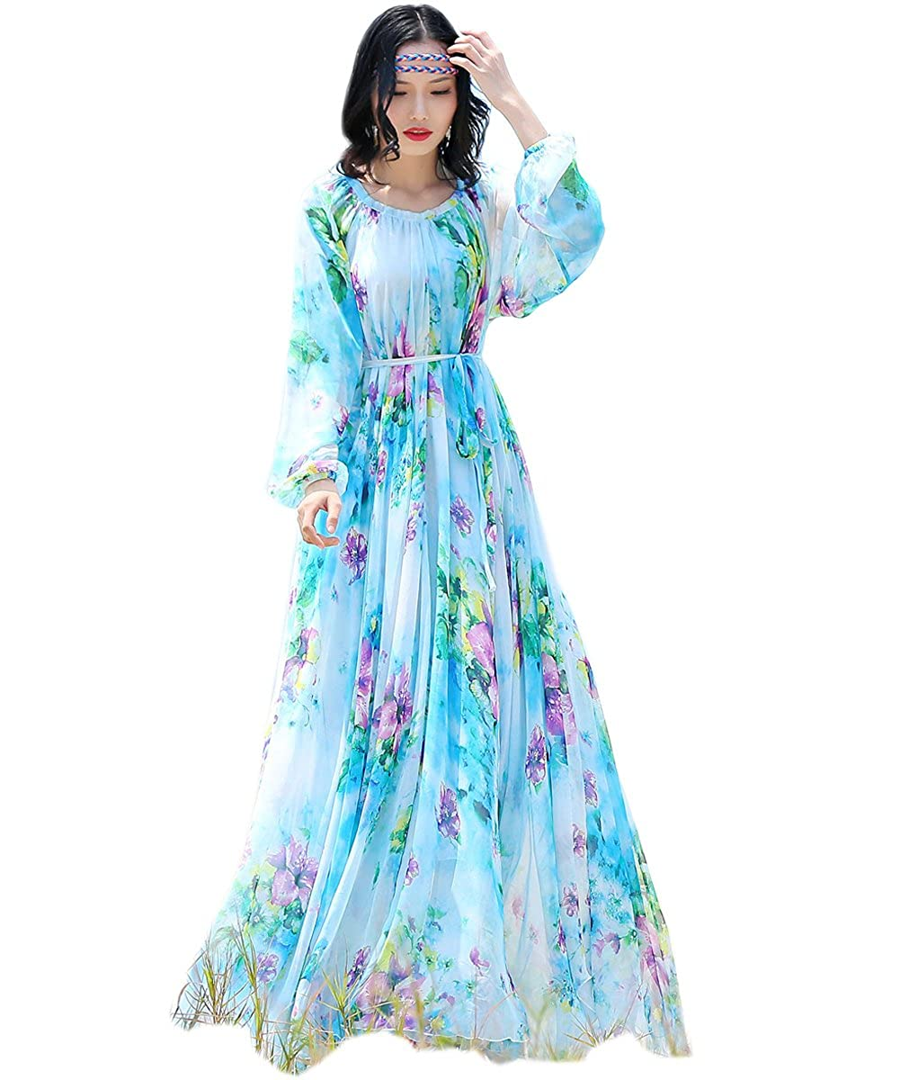8622ec352e86 Medeshe Women's Chiffon Floral Holiday Beach Bridesmaid Maxi Dress Sundress  at Amazon Women's Clothing store:
